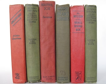 Vintage Book Bundle in Green and Red