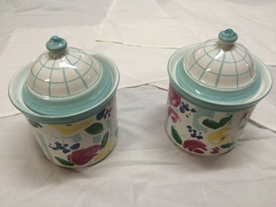 Flour Canisters And Lids Set Of 2 Romance By Porta