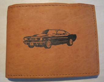 "Mankind Wallets Men's Leather RFID Blocking Billfold w/ ""1966 Ford Mustang Fastback""-Makes a Great Gift!"