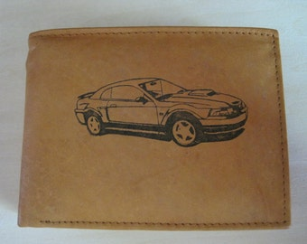 "Mankind Wallets Men's Leather RFID Billfold w/ ""2001. 2002, 2003, 2004 Ford Mustang GT"" Image~Makes a Great Gift!"