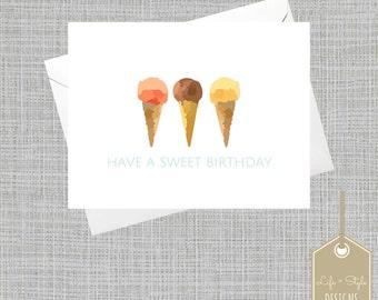 Sweet Birthday Card, Birthday Card for Her,Pastel Card, Summer, Greeting Card, Blank Card, Icecream Card,Birthday Card,Elegant Birthday Card