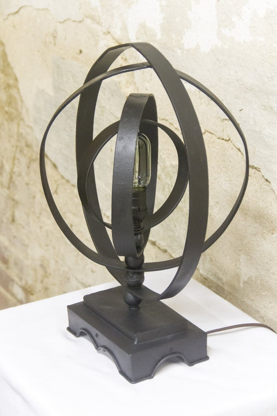 Industrial Steampunk Metal Sphere Orb Table Lamp With Edison