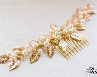 Gold Leaf Hair Comb, Bridal Hair Comb, Gold Leaf Headpiece, Grecian Headpiece, Vintage Hairpiece, Wedding Hair Accesories