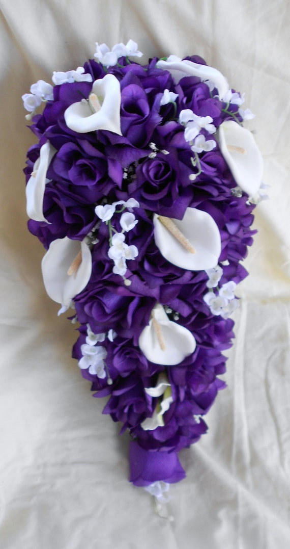 Cascade Bride bouquet royal purple and white calla  lilies of the valley and callas 2 pieces