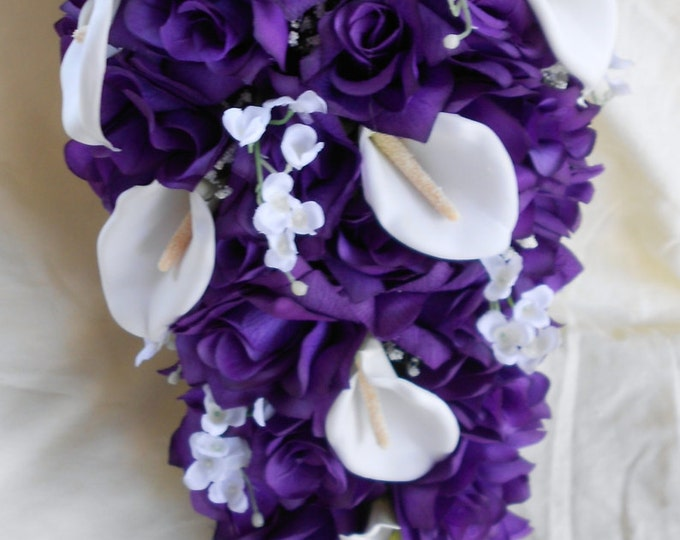 Cascade Bride bouquet royal purple and white roses lilies of the valley and callas 2 pieces