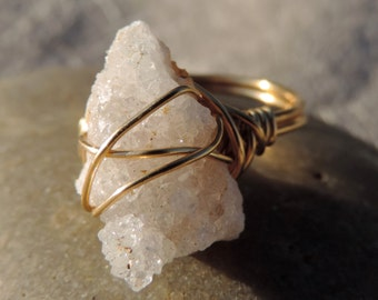 gold plated wire wrapped free form white druzy ring
