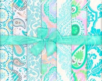 Mint Paisley Pattern Digital Papers. Scrapbook Digital Mint Paisley Pattern. Floral download. Mint Paisley Pattern Background MG-23