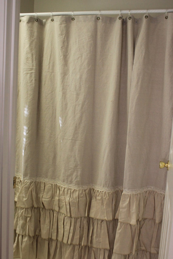 Items Similar To Drop Cloth Painters Cloth Shabby Chic Shower Curtain Ruffled 3 Rows Of Ruffles