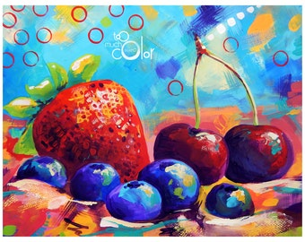"""Fruits and Berries - Original colorful traditional painting paper acrylic 8.5""""x11"""""""
