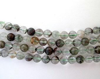 Genuine Lodolite quartz round beads, Green Garden quartz loose beads 10mm