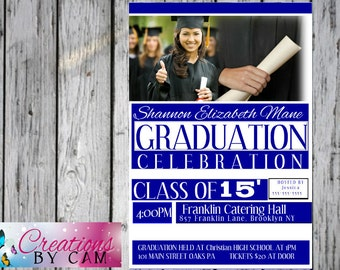 Graduation Invitation/ Class of 2015 downloadable png file or printable option