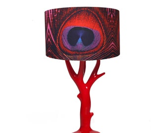 Red Feather Print Antler Red Table Lamp