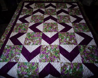 Purple and floral quilt