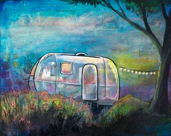Airstream Camper Painting - Retro Camper Art - Vintage Camper Trailer - Fine Art Print of Original Art