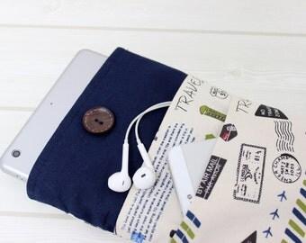 iPad Case, iPad Mini Sleeve, iPad Mini4 Sleeve, Tablet Sleeve, Paris, Bon Voyage, Cotton Sleeve iPad, Ebook sleeves, Kindle sleeves