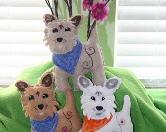 Felt dog stuffed animal with colorful bandana