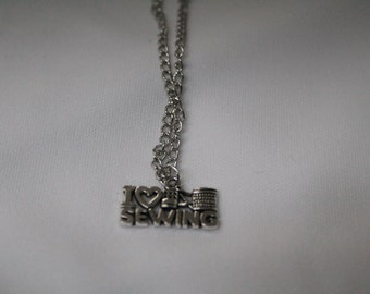 I love sewing necklace