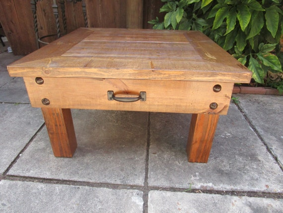 Rustic Square Coffee Table With Large Drawer