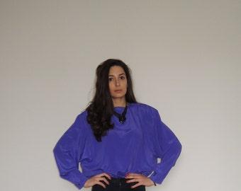 Vintage Blouse/ Vintage Ladies Purple Blouse/ Back Buttons