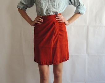 Vintage Suede Skirt/ Red Suede Skirt/ Vintage Tassels Skirt