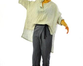 Beige linen shirt/Loose 100% linen tunic/Casual  linen oversize top/Linen long tunic/maxi blouse/Maxi summer tunic/Oversize long top/T1257