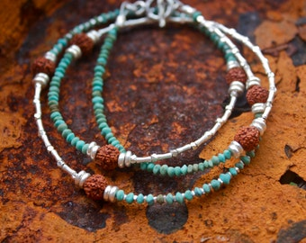 Turquoise, Rudraksha and Thai Hill Tribe Silver Wrap Bracelet/Necklace