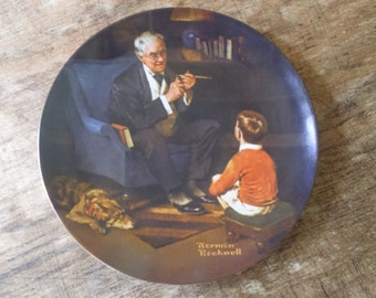 """Norman Rockwell Plate """"The Tycoon"""" by Knowles Limited Edition Collectors Plate from the Heritage Collection"""