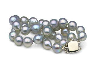 Natural-Color Baroque Blue Akoya Double-Strand Pearl Bracelet, 8.0mm to 8.5mm, 14K Gold