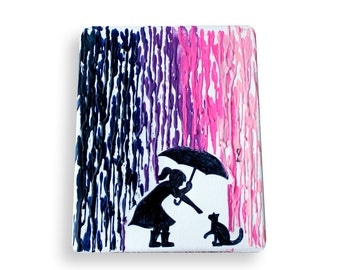 Girl in rain with cat, Encaustic wax crayon painting, crayon painting