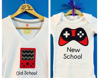 New School and Old School Gamer XBox/ Playstation/ Gameboy Parent & Child Set