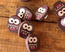 Owl Buttons Wooden Button Painted Sewing Button For Craft Supplies b40b(20pcs)