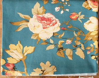 Large Rose Fabric Cotton Linen Fabric Shabby Chic Floral Fabric,Peony Fabric for Cloth Curtain Quiltting - 1/2 yard h29