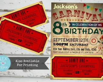 """Vintage """"Carnival"""" Customizable Birthday Party Invitation with Poster and Admission Ticket, In Red, County Fair, Country Fair, Carnival"""