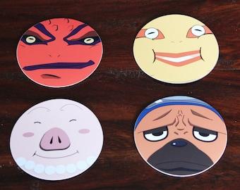 Pakkun, Tonton, Gamakichi, Gamatatsu - 4 Piece Magnet Set