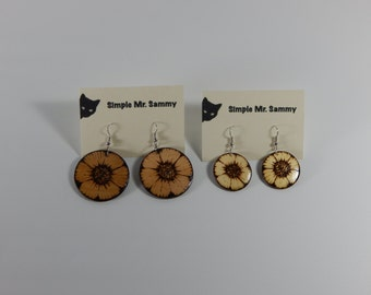 Flower Earrings with Wood-Burned Design