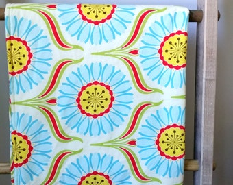 Gender Neutral Baby Blanket- Modern Minky Baby Blanket-Pop Garden-Baby Boy Blanket-Baby Girl Blanket-Homemade Blanket-Red, Yellow, Blue