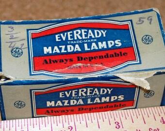 1942 New Eveready Mazda Radio Panel Bulbs Type 40 and Type 47 in Original Box!