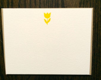 Letterpress Note Cards (A2)- Yellow Tulip with Brown Paper Bag Euro-Style Envelopes