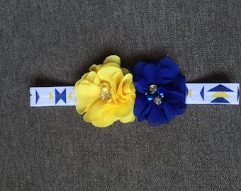 Handmade Baby Headband: Blue and Yellow Bowtie Headband with Choice of Flower(s)