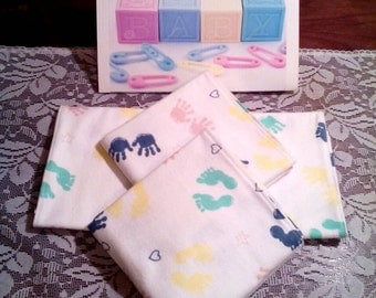 Baby Burp Cloths - Tiny Hands & Tiny Feet-3 pack