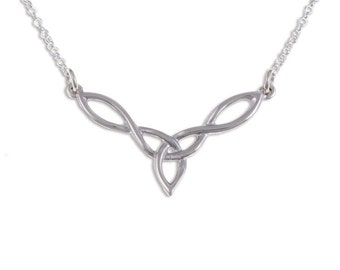 925 Sterling Silver Celtic Loop Knot pendant with 16 inch sterling silver belcher chain. - Made in UK