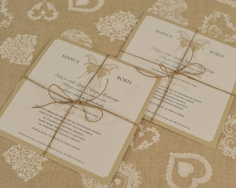 Invitation rope and butterfly detail SET OF 10