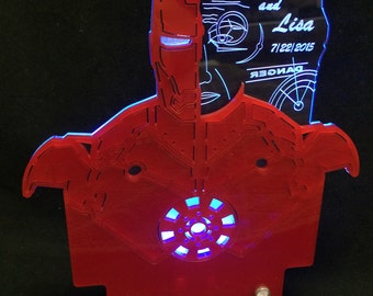 Iron Man inspired Cake Topper for Weddings with LED light, made in acrylic, personalized and engraved by AcryLEDdesigns.