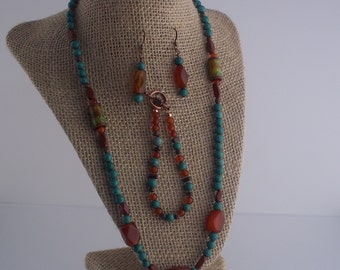 Teal and Brown Necklace, Bracelet and Earring Set