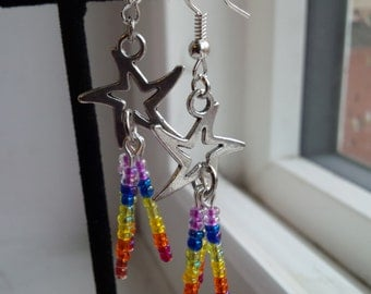 Rainbow Shooting Star Earrings, Free Shipping