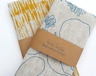 Tea towel/kitchen towel 100% Linen Hand Printed Botanical Print