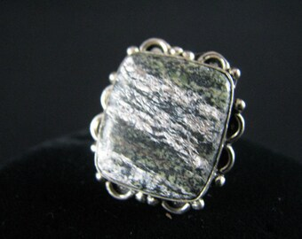 Natural Stone Sterling Silver Ring - Size 6