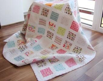 Modern Quilt / Custom Quilt / Twin Quilt / Throw Quilt / Bed Quilt / Girl Quilt / Pastel Quilt / Pink Quilt / Turquoise Quilt