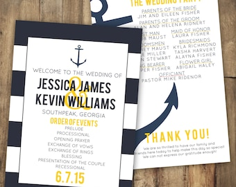 Anchor Wedding Program, Stripe Wedding Program, Navy Wedding Program, Nautical Wedding Program, Yellow Wedding Program, Stripe Invitation