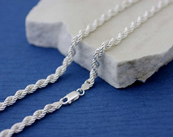 Sterling Silver Rope Chain Necklace, Silver Rope Chain Necklace, Sterling Silver Italian Chain, 5mm Italian Rope Chain, Cadena Torsal